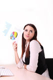 Young business woman is thinking about idea Stock Photos