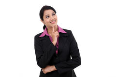 Young business woman thinking Royalty Free Stock Photography