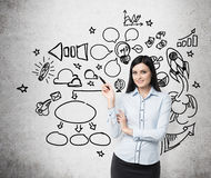 Young business woman is thinking about optimisation of social media process. Chalk icons are drawn on the concrete wall. Young brunette business woman is Royalty Free Stock Images