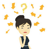 Young business woman thinking vector illustration. Stock Photo