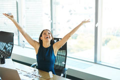 Young Business Woman Throwing Paperwork into The Air. Business P. Eople Royalty Free Stock Photography