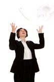Young Business Woman throwing up documents Stock Photos