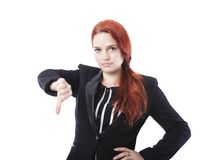 Young business woman thumbs down Royalty Free Stock Images