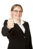 Young business woman with thumbs up Royalty Free Stock Photography