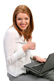 A Young Business Woman with Thumbs Up Stock Photo
