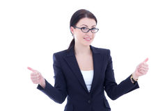 Young business woman thumbs up isolated on white Royalty Free Stock Image