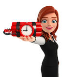 Young Business Woman with time bomb Stock Images