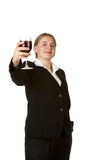 Young business woman toasting with glass of wine Stock Images