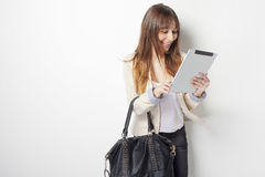 Young business woman touching a digital tablet computer Stock Images