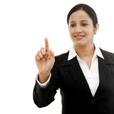 Young business woman touching virtual screen Royalty Free Stock Photography
