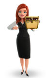 Young Business Woman with treasure box Stock Photos
