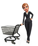 Young Business Woman with trolley Royalty Free Stock Photos