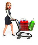 Young Business woman with trolley and shopping bag Royalty Free Stock Image