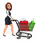 Young Business Woman with trolley and shopping bags Royalty Free Stock Photography