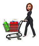 Young Business Woman with trolley and shopping bags Stock Photo