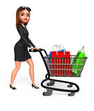Young Business Woman with trolley and shopping bags Stock Photography