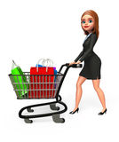Young Business woman with trolley and shopping bags Stock Image