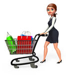 Young Business woman with trolley and shopping bags Royalty Free Stock Image