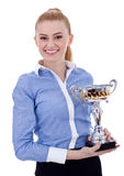 Young business woman with trophy Stock Image