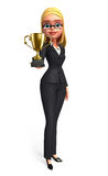 Young Business Woman with trophy Royalty Free Stock Image