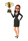 Young Business Woman with trophy Stock Images