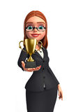 Young Business Woman with trophy Royalty Free Stock Photo