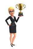 Young Business Woman with trophy Royalty Free Stock Photos