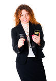 Young business woman with two mobile phones Stock Photo