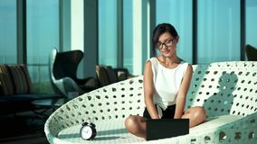 Young business woman typing email stock video footage