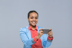 Young Business Woman Using Cell Smart Phone African American Girl Happy Smile Businesswoman Royalty Free Stock Image