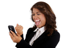 Young business woman using a cellphone Stock Images