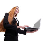Young business woman using laptop Royalty Free Stock Image