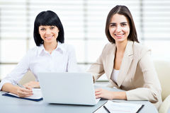 Young business woman using laptop. Portrait of a young business women using laptop at office Royalty Free Stock Photos