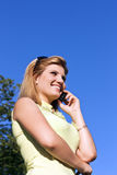 Young business woman using mobile Royalty Free Stock Photography