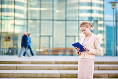 Young business woman using tablet Stock Images