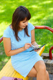 Young business woman using tablet Stock Photo