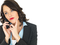 Young Business Woman Using a Telephone Royalty Free Stock Photography