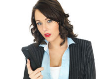 Young Business Woman Using a Telephone Stock Image