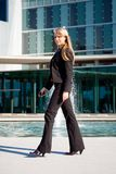 Young business woman walking Royalty Free Stock Photo