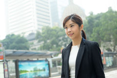Young business woman walking at outdoor Stock Photos