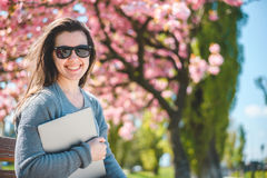 Young business woman walking on street Royalty Free Stock Photo