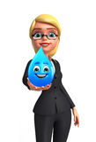 Young Business Woman with water drop Stock Photo