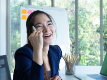 Woman is cheerful royalty free stock photo