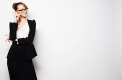 Young  business woman wearing glasses Royalty Free Stock Image