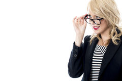 Young Business Woman Wearing Glasses Royalty Free Stock Photos
