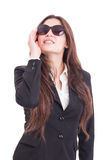 Young business woman wearing sunglasses acting like a diva Royalty Free Stock Photo