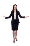 Young business woman welcoming or presenting something isolated Stock Images