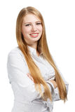 Young business woman on white background Stock Image