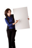 Young business woman with white board royalty free stock photos