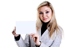 Young Business Woman With Business Card Stock Image